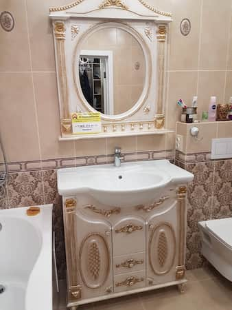 Установка раковины с тумбой в ванной цена